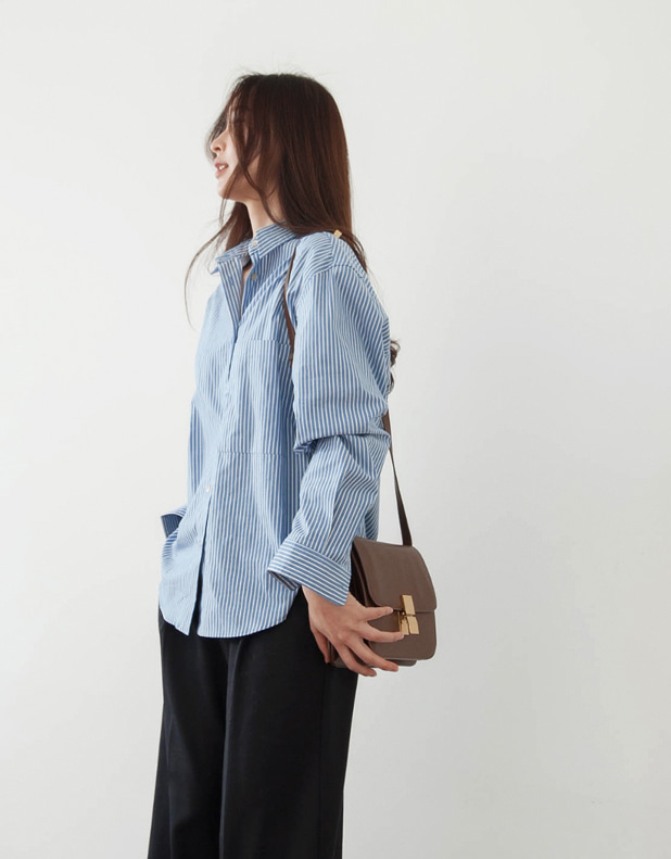 Cotton basic Shirt_blue stripe