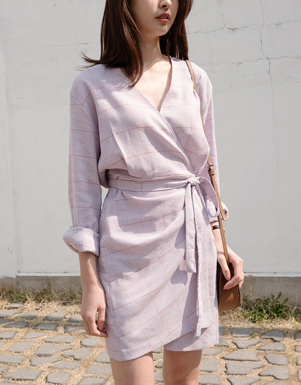 CHECK Wrap Dress