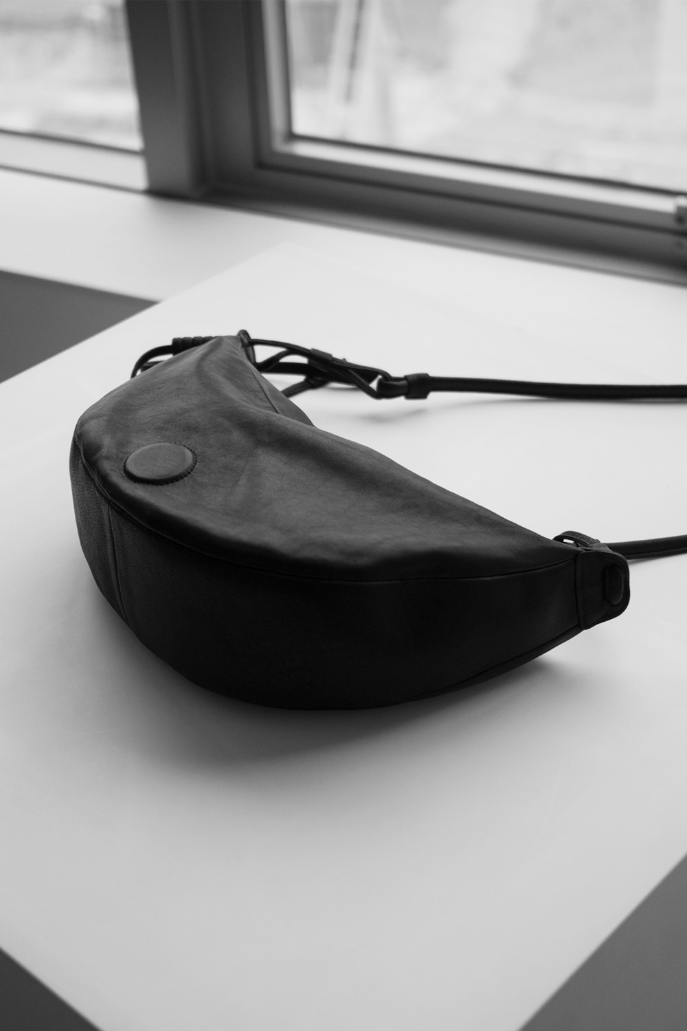 2440_Leather Half Circle Bag
