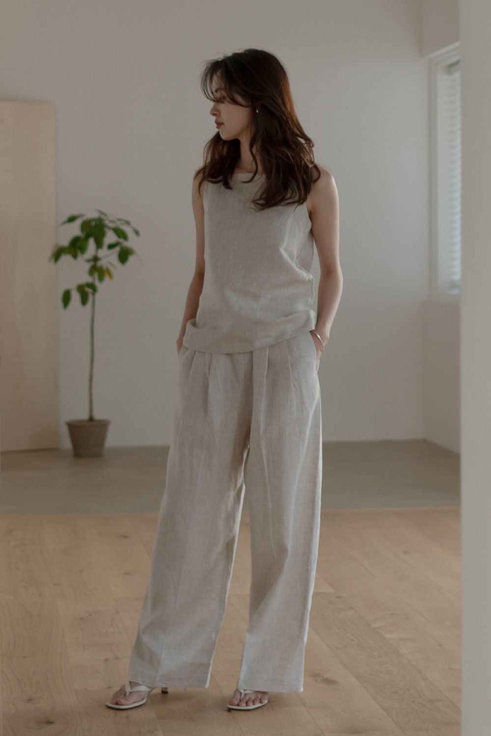 6559_Linen wide band pants