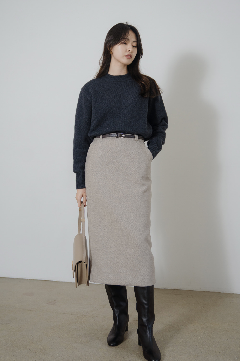 9020_Wool twill belt skirt