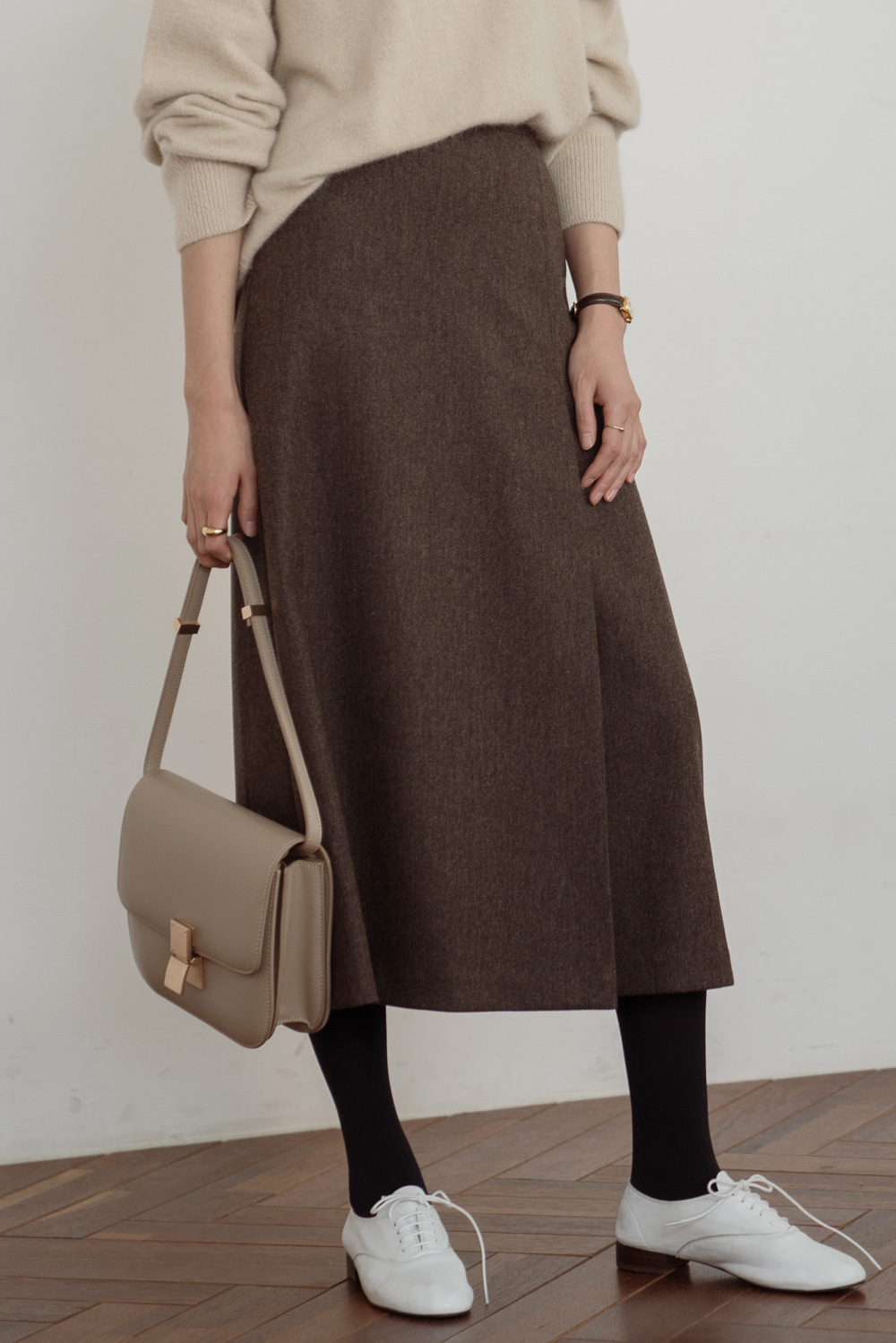 8848_Elegant wrap wool skirt