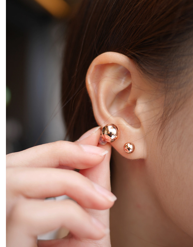 Rose gold-plated Ball Studs (사이즈 별 가격변동)3mm사이즈 추가입고