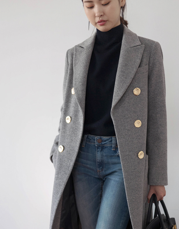 Wool cashmere antique button Coat