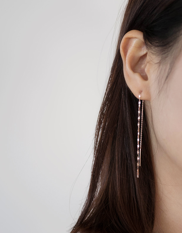 Silver_chain long Earring