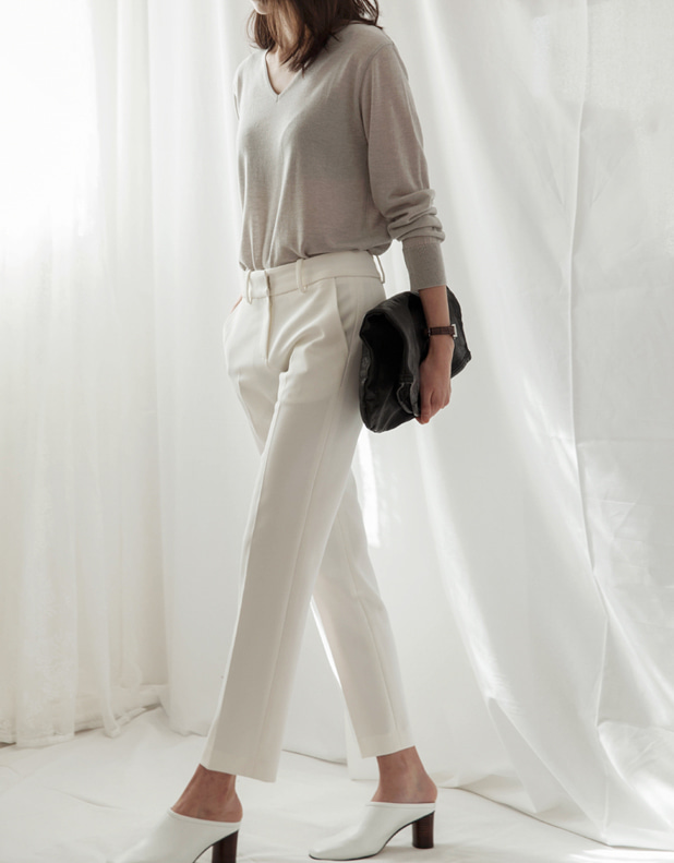 straight slim Trousers