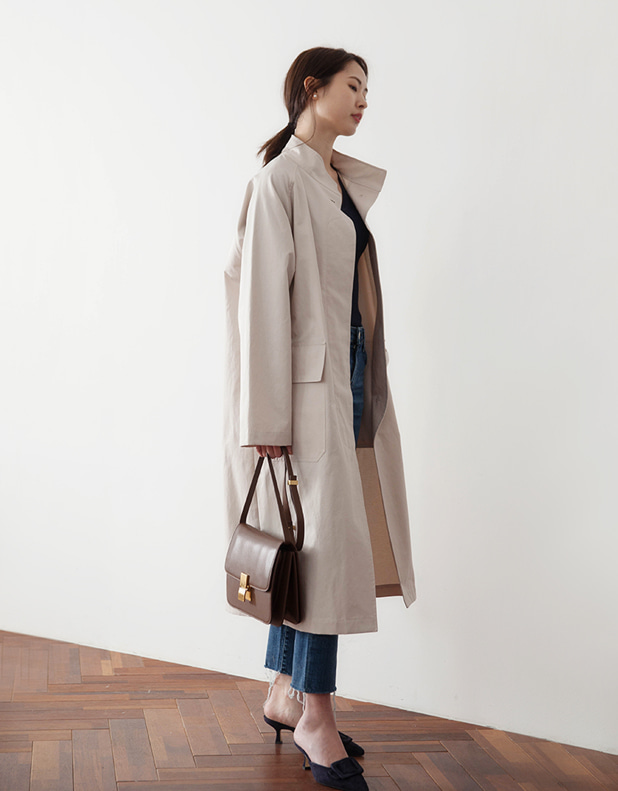 High necked collar Trench Coat