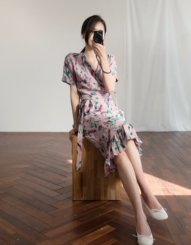 Flower WRAP dress_violet pink