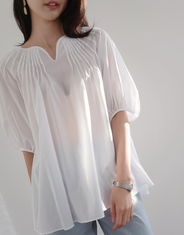 Pintuck puff Blouse_White