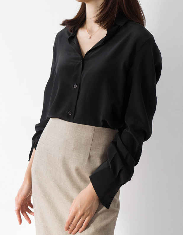 miu SILK Shirt_BLACK