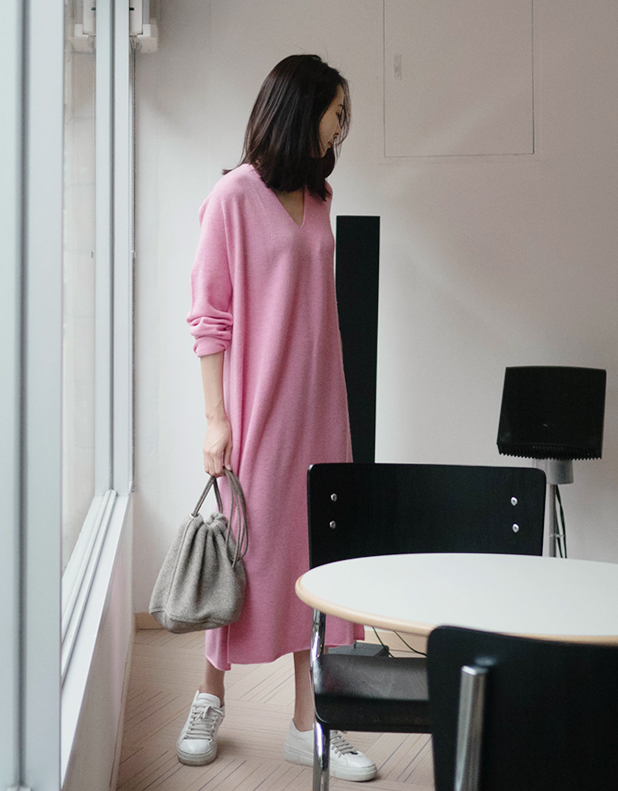 WOOL V-Neck Dress