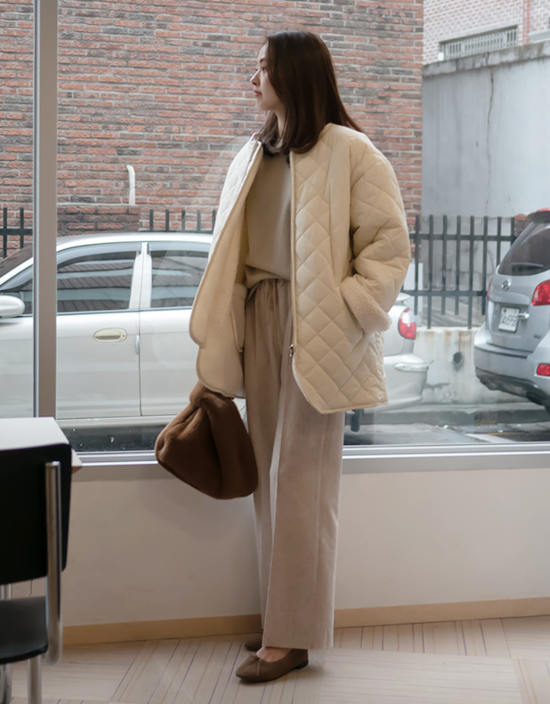 8821_Beige Wool Bending Pants