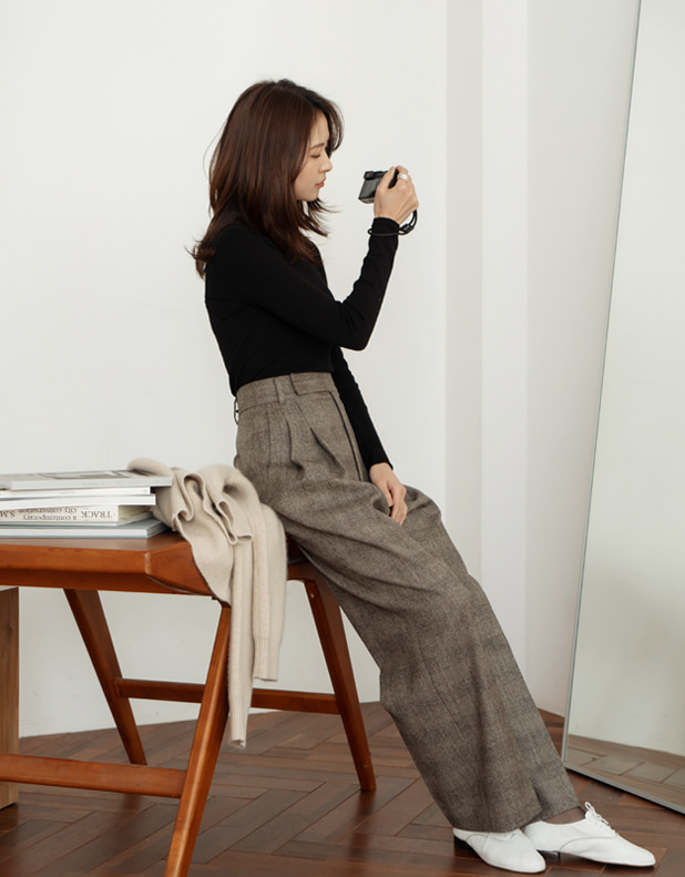 8951_CHECK WOOL Trousers