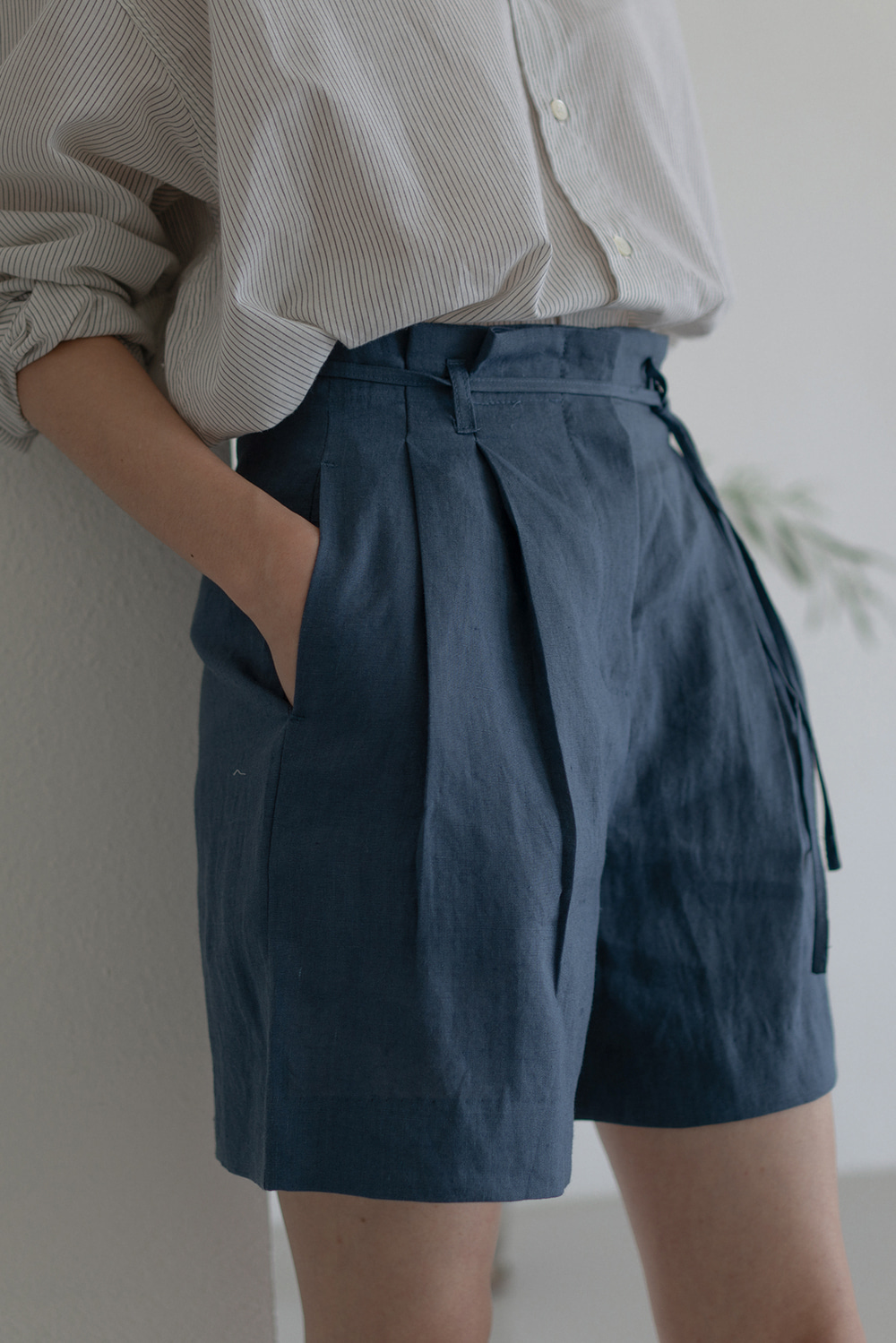 6886_Ribbon Linen Shorts
