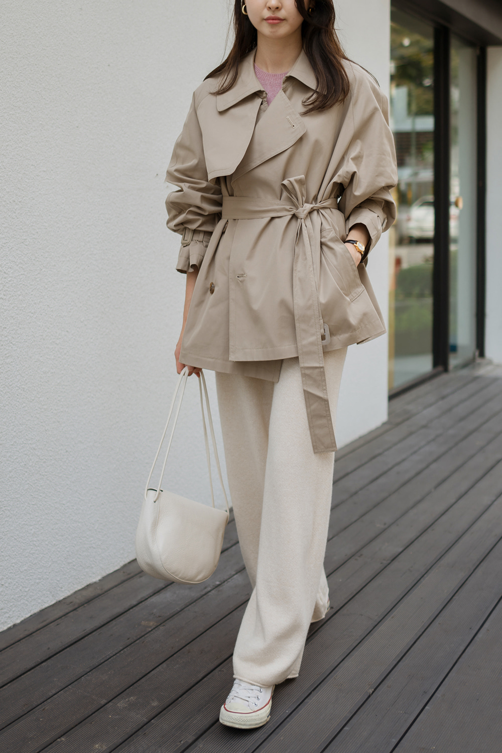 7557_Collar Short Trench Coat