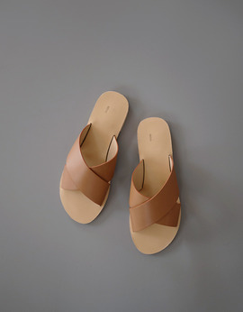 Cross Leather Slide