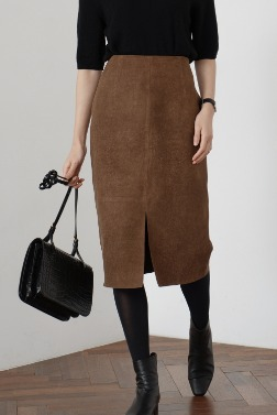 4090_Slit Suede Skirt