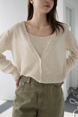 4670_Linen Shirring Cardigan