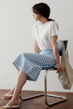 6689_Summer check skirt