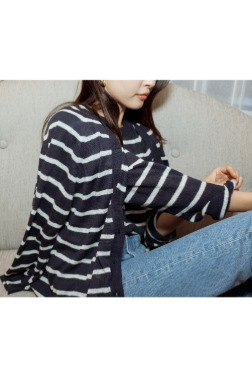 7391_V Stripe Cardigan