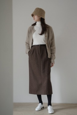 8795_Wool waist tuck skirt