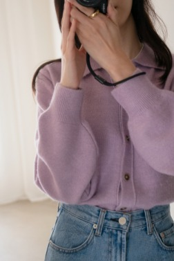 8694_Alpaca collar cardigan
