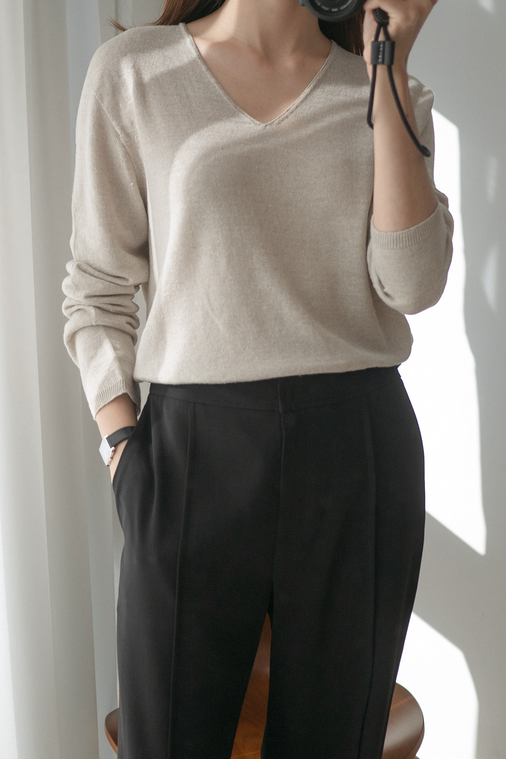 7123_Linen V Long Sleeve Knit